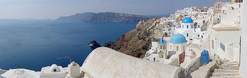 Partial panorama of Santorini